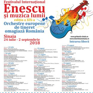 INTERNATIONAL ENESCU FESTIVAL AND WORLD MUSIC FESTIVAL – 19TH EDITION  START ON JULY 24 IN SINAIA